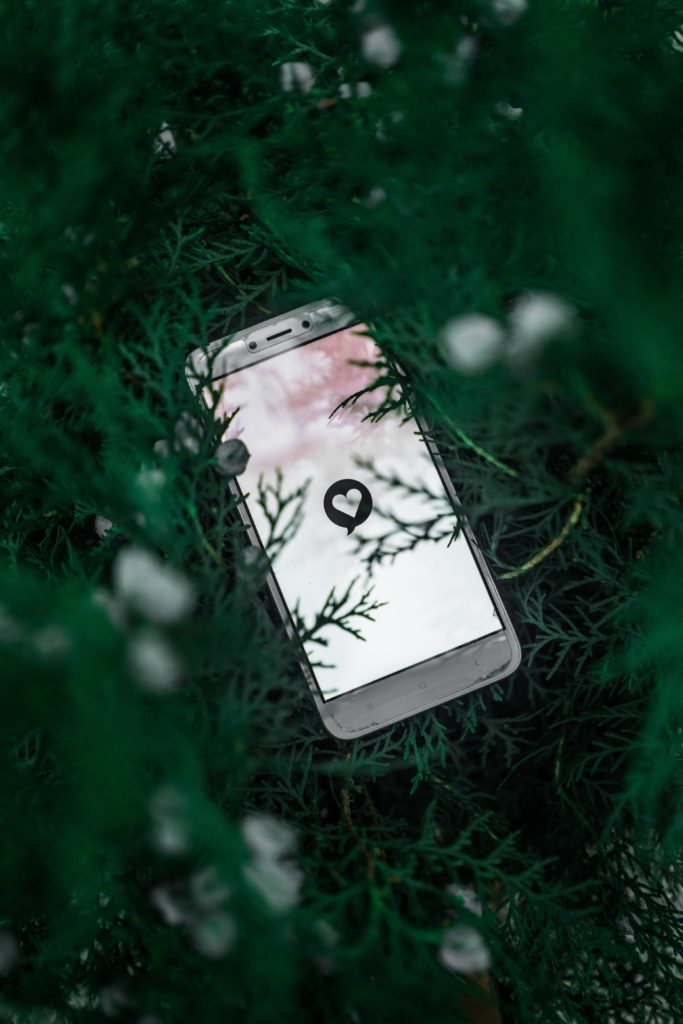 peer-to-peer fundraising: mobile phone in grass with heart icon on the screen